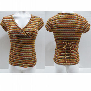 Wet Seal top Small striped open knit tie back